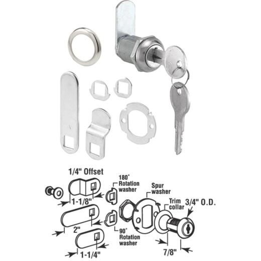 """Defender Security 3/4"""" Stainless Steel Drawer & Cabinet Lock - Keyed Different"""