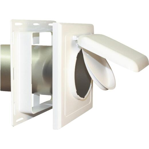 No-Pest 4 In. White Plastic J-Block Dryer Vent Hood