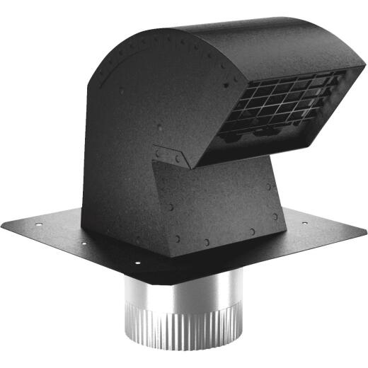 Imperial 4 In. Black Aluminum R-2 Premium Roof Vent Cap with Collar