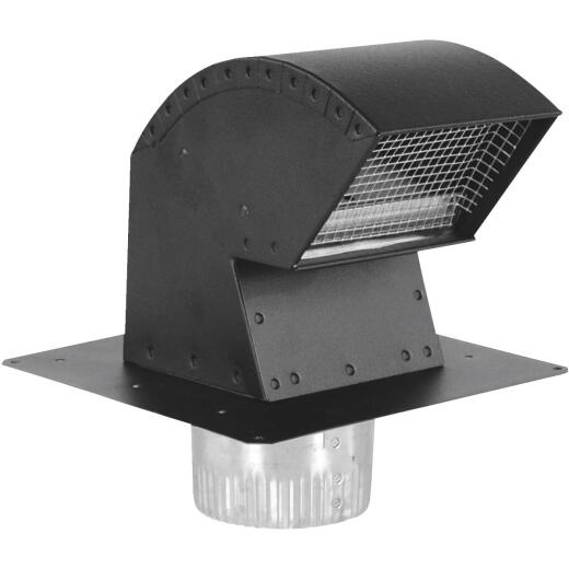 Imperial 6 In. Black Aluminum R-2 Premium Roof Vent Cap with Collar