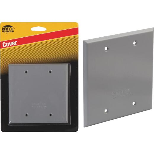 Bell 2-Gang Square Aluminum Gray Blank Weatherproof Outdoor Box Cover, Carded