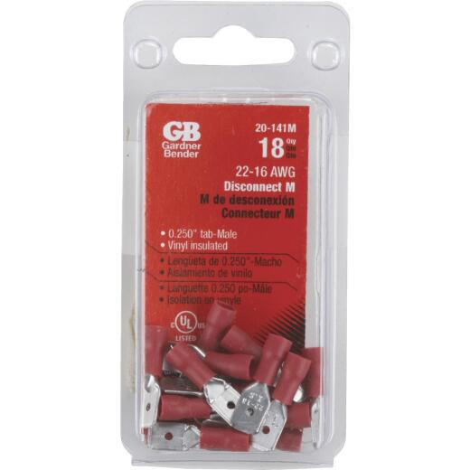 Gardner Bender 22 to 16 AWG Male Red Vinyl-Insulated Barrel Disconnect (21-Pack)