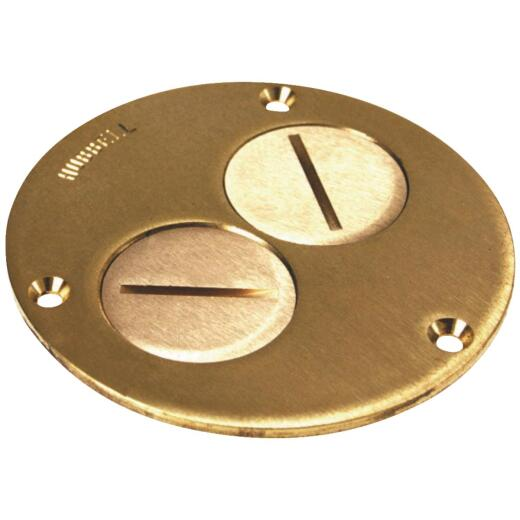 Steel City Brass Polished Brass 4-1/4 In. Floor Outlet Cover Plate