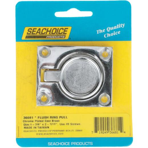 Seachoice 1-7/8 In. x 2-1/2 In. Chrome-Plated Brass Square Flush Hatch Ring Pull