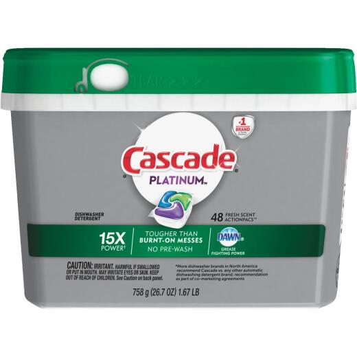 Cascade Platinum Action Pacs Fresh Dishwasher Detergent Tabs, 48 Ct.