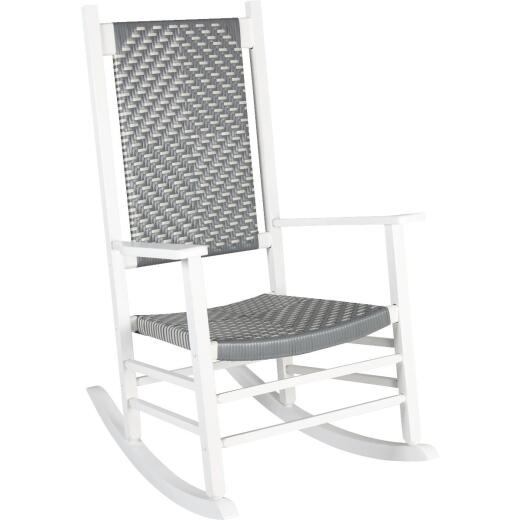 Jack Post Knollwood White Wood Woven Rocking Chair