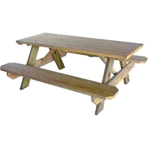 Outdoor Essentials 6 Ft. Pressure-Treated Wood Picnic Table with Benches