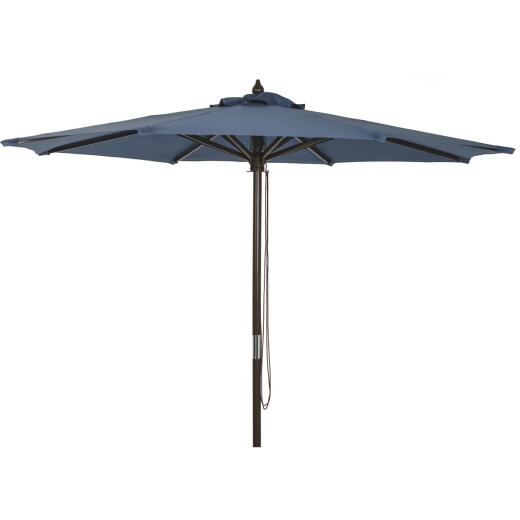 Outdoor Expressions 9 Ft. Pulley Heather Blue Market Patio Umbrella with Chrome Plated Hardware
