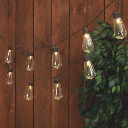 Everlasting Glow 6 Ft. 10-Light Warm White Edison Bulb Solar String Lights