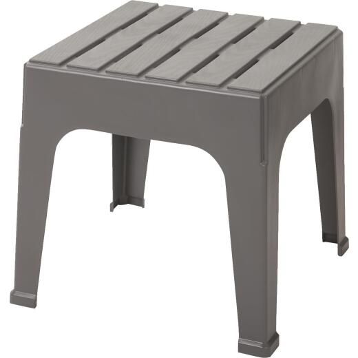 Adams Big Easy Gray 18.9 In. Square Resin Stackable Side Table
