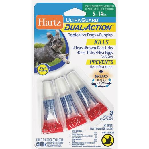 Hartz UltraGuard Dual Action 3-Month Supply Flea & Tick Treatment For Dogs & Puppies From 5 to 14 Lb.